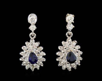 Sapphire Earrings with diamonds