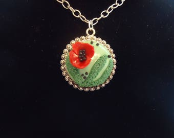 """Polymer Clay Poppy Flower Circle Metal Bezel and 18"""" Chain"""