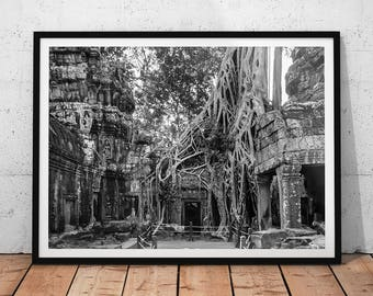 Ta Prohm Temple Photo // Cambodia Travel Photography Print, Buddhist Wall Art, Black & White Asia Archaeology, Buddhism, Tomb Raider Temple