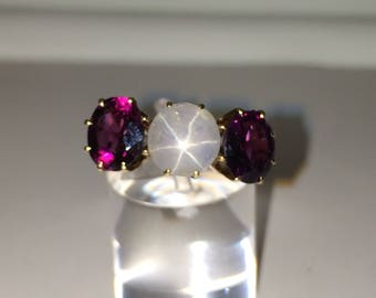 Antique star of india sapphire and garnet ring late victorian