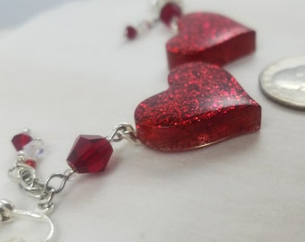 Two of Hearts Clip-On Dangle Earrings in Glitzy Ruby Red Slipper with Glass Bead Accents