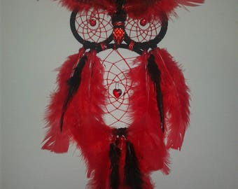 Red and black owl dream catcher