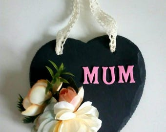 Hanging slate heart with silk flowers for Mother's day.