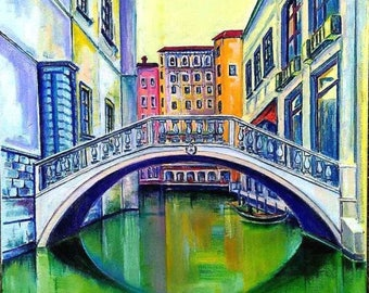 Venice original oil painting on canvas palette knife wall art