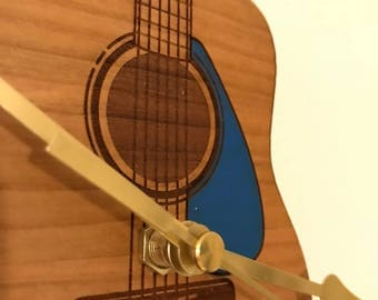 Engraved & hand painted solid Cherry Guitar clock