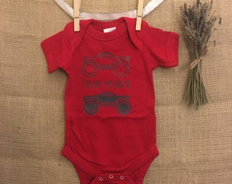 I Love Trucks Baby Bodysuit