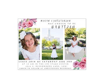 Summer floral digital baptism invitation printable custom template