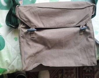 Vintage Army Canvas Bag Messenger Bag Green Khaki Bag -Shoulder Bag Front Leather Strap Vintage Military Bag, 1980's Green Canvas Unisex Bag