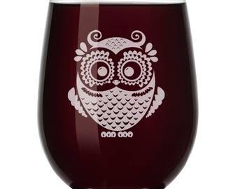 Owl Vintage Wine Glass Stemless or Stemmed