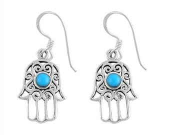 Hamsa Earrings - Sterling Silver - Gifts for Her - Boho - Perfect Gift - Hamsa Hand - 925 Jewelry