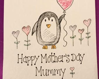 Hand drawn hand made penguin Mother's Day card.