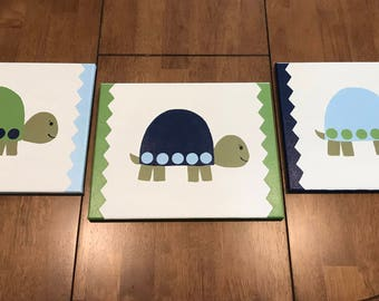 Hand painted theme canvases, set of 3, for nursery or child's room, home decor, custom painted