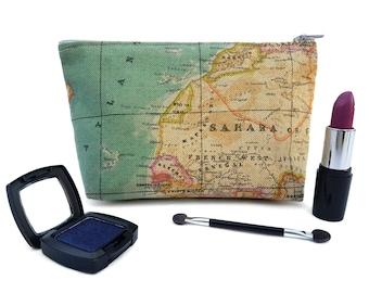 Map Makeup Case / Travel Makeup Case / Small Makeup Bag / Makeup Organiser / Zipper Pouch / Cosmetics Case / Makeup Pouch / Toiletries Bag