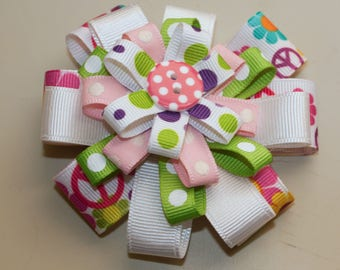 """Stacked Hair Bow, Multi-Color 3 1/2"""" Hair Bow, Infant Girl Toddler Hair Bow"""