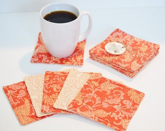 Quilted Coasters/ Cup coaster/ Mug rugs/ quilted mug rugs/ coaster/ Coral Coasters/ Coaster set/ Gift Ideas/ wedding gift/Cotton anniversary