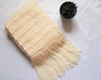 cream crochet scarf, cream scarf, winter scarf, fringed scarf, winter wear, scarf, scarfs, scarf knit, scarf women, winter scarf wool