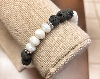 White Glass Beads - Black Lava Rock Beaded Bracelet - Essential Oils