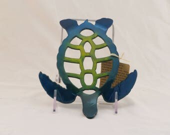 Blue/Green Medium Turtle Trivet / Wall hanging