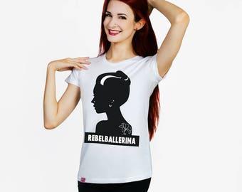 Rebel Ballerina, silhouette, gift for dancer, dance top, ballet top, gift for ballerina, inked, piercing, tattoo, ballet tshirt, ballet gift