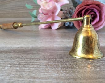 Vintage Brass Candle Snuffer w/ wood handle