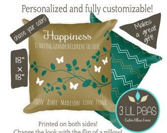 Gift for Grandparents, Gift from Grandchildren, Personalized Grandparents Pillow, Grandma Pillow, Grandma Birthday Gift, Grandma Cushion