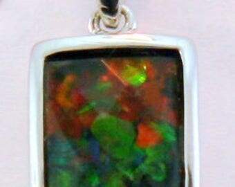 Petite Canadian Ammolite Pendant in Sterling Silver
