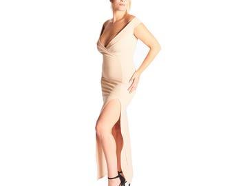 Feona Bandeau Wrap Front Split Maxi Dress - Stone