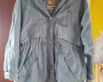 1980's Current Seen shimmery blue windbreaker