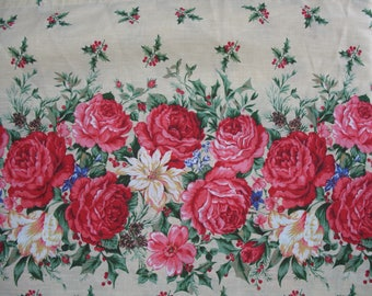 """Vintage Christmas Tablecloth Victorian Roses Poinsettia Holly Bush Pattern 70"""" x 72"""