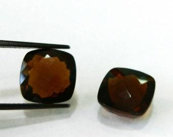 24.80 Ct Natural Loose Gemstone Smokey Quartz 14MM Square Cushion