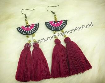 Handmade Tassel earrings in maroon color