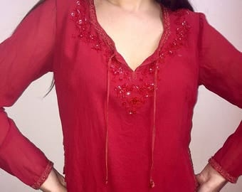 Red embroidered sheer top