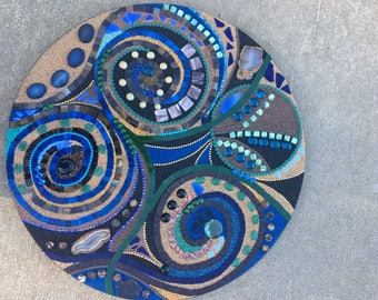 "24 inch circular mixed media abstract mosaic  ""Equinox"""