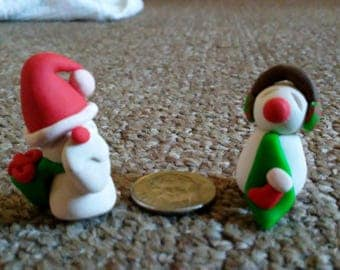 Santa and Snowman Clay Figurines