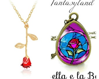 Necklace pendant Rose of beauty and the Beast