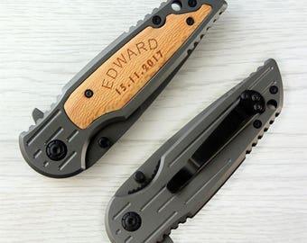 Personlized Engraved Portble Folding Knife Wood Handle Steel Blade Custom Porcket Wedding Gift Aniversary Best Man