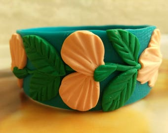 "Handmade bracelet ""Peach Flowers"""