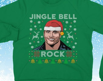 Funny Rock Ugly Christmas Jumper The Rock Christmas Sweater Funny Christmas Jumper Jingle Bell Rock  Funny Jumper Sweater Dwayne Jonston