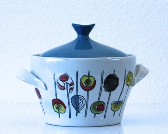 Vintage oven dish with lid-Ekeby Sweden-Ternell-Cocktail