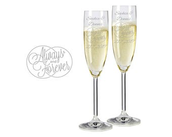 "2 Leonardo champagne glasses with personalized engraving ""Always and Forever"" bride/Groom with name and date engraved wedding gift"