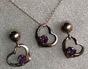 Natural Amethyst and .925 Sterling Silver Set