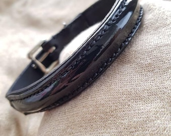 Patent leather dog collar
