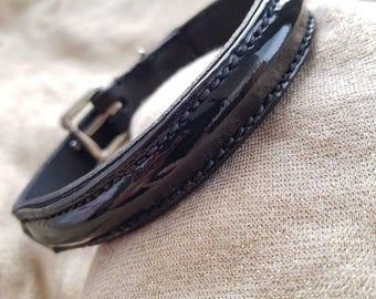 Patent leather dog collar
