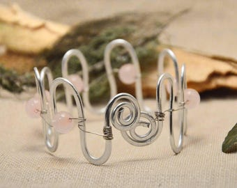 Rustic bracelet with stone, rose quartz gemstone bracelet, wire metal bangle, pink beaded bracelet, spiritual bracelet, mothers day gift