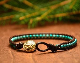 Blue beaded bracelet, bohemian chan luu bracelet, bracelet with stones, rustic leather bracelet, turquoise hippie bracelet, gift for her