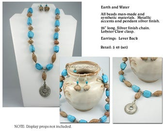 "Feature Pendant from ""Earth and Water"" Single Strand Necklace Set"