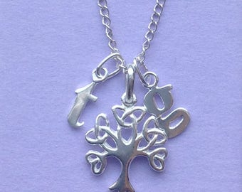 Beautiful Sterling silver family tree charm necklace
