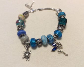 """9"""" silver chain bracelet turquoise"""