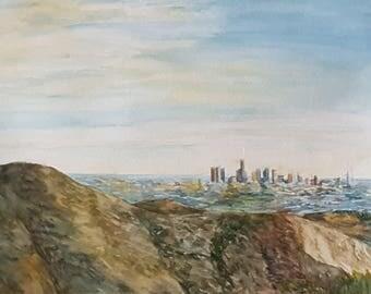 Los Angeles. Watercolor. 14.5''x11''