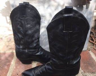Justin Black Leather Cowboy Boots Women's size 7